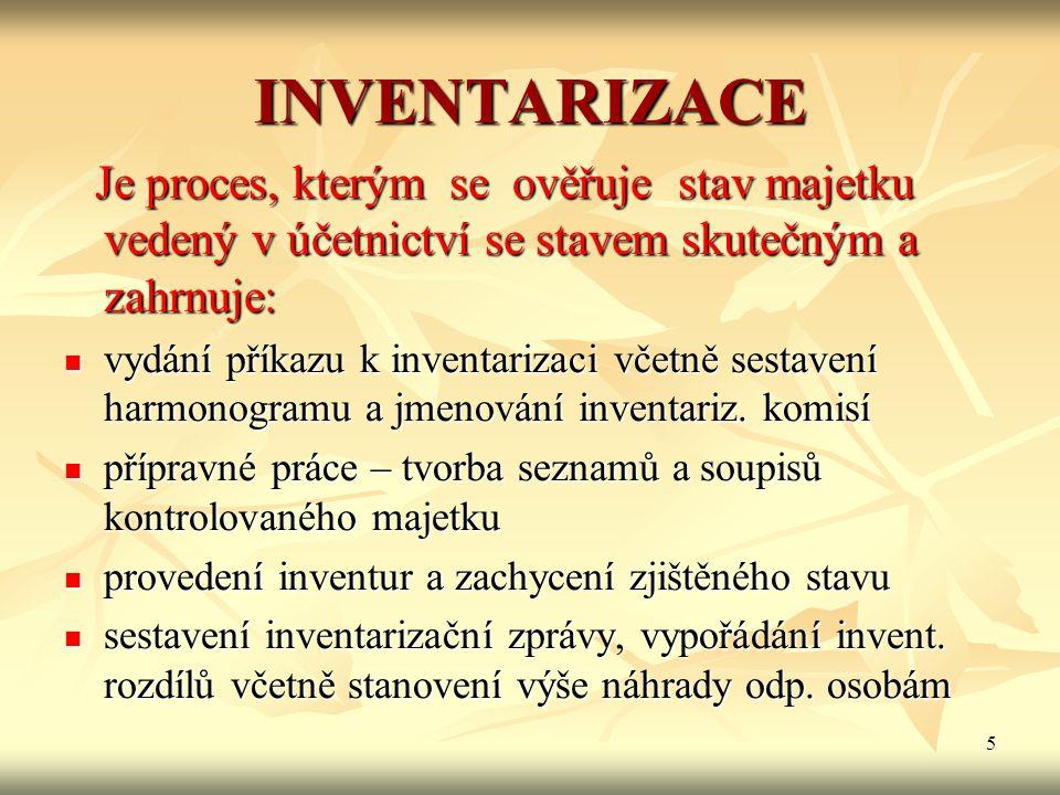 INVENTARIZACE Je proces, kterým se ověřuje stav majetku vedený v účetnictví se stavem skutečným a zahrnuje: