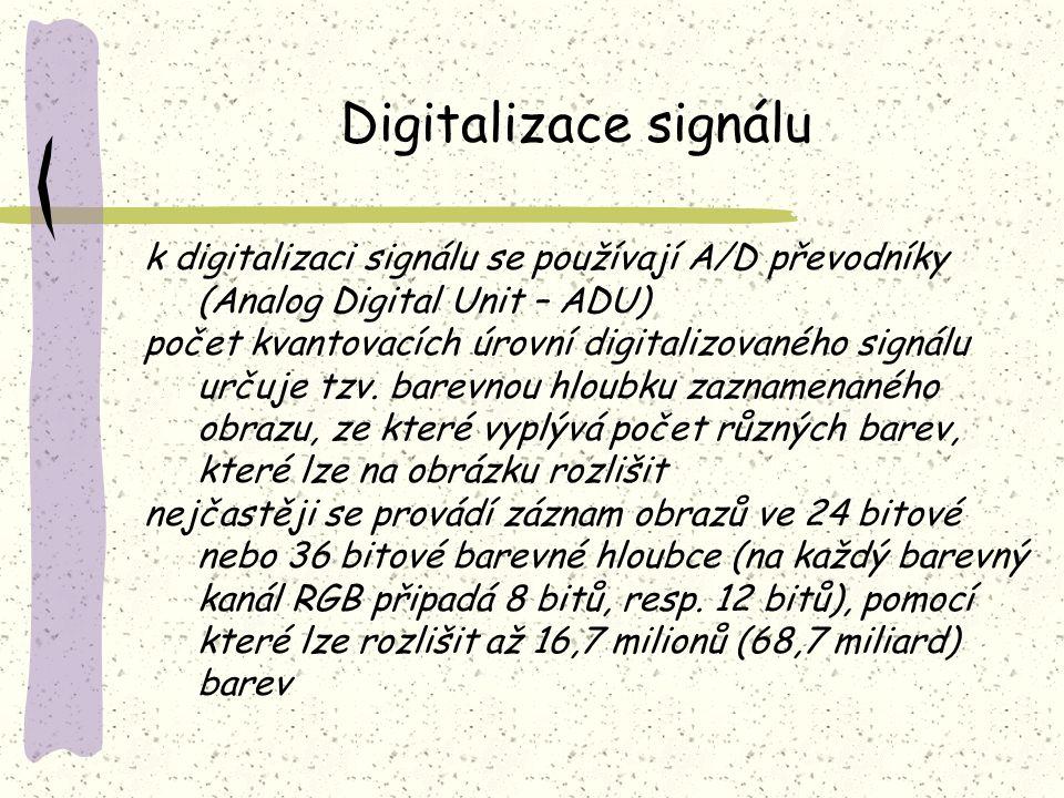 Digitalizace signálu k digitalizaci signálu se používají A/D převodníky (Analog Digital Unit – ADU)