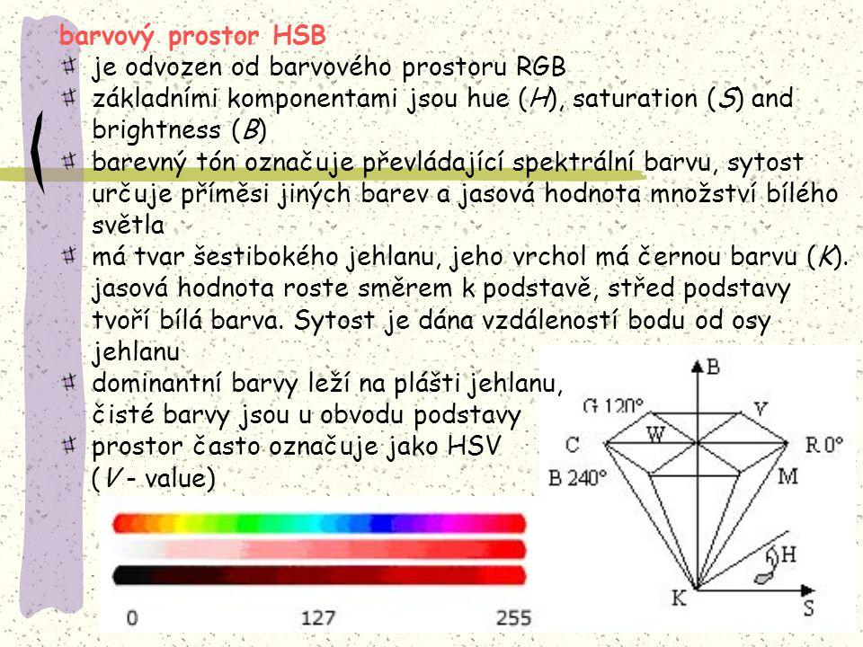 barvový prostor HSB je odvozen od barvového prostoru RGB. základními komponentami jsou hue (H), saturation (S) and brightness (B)