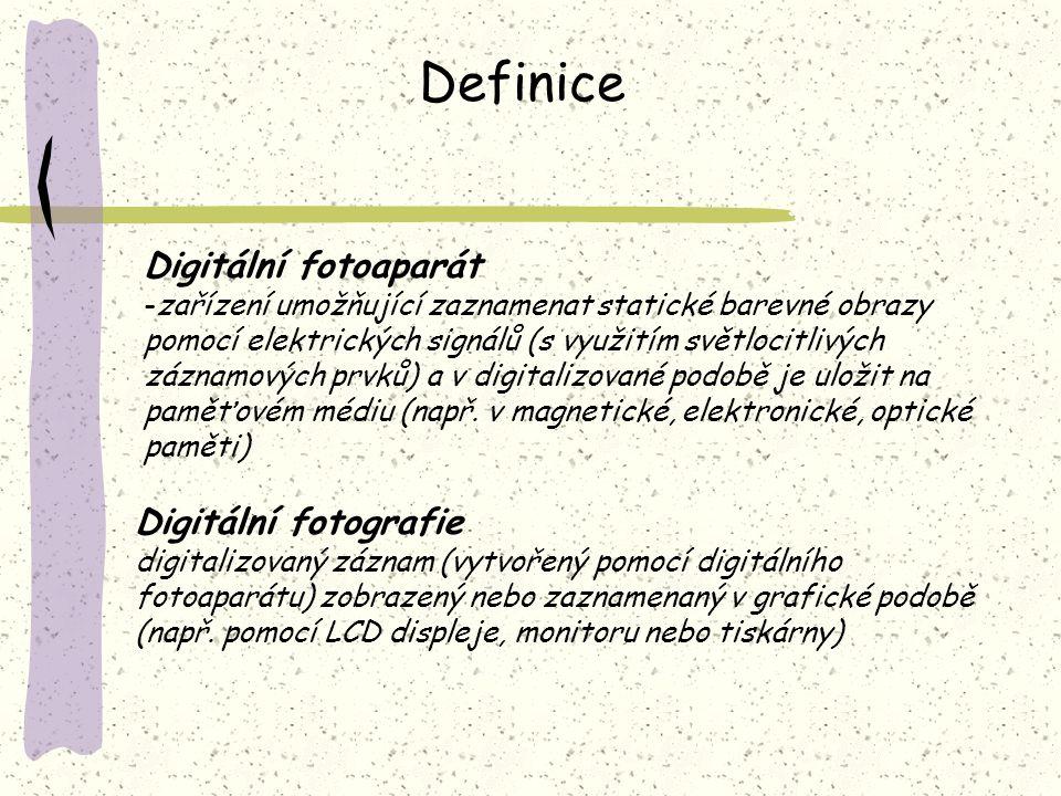 Definice Digitální fotoaparát Digitální fotografie