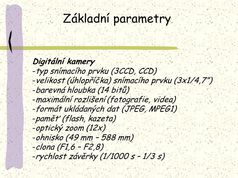 Základní parametry Digitální kamery typ snímacího prvku (3CCD, CCD)