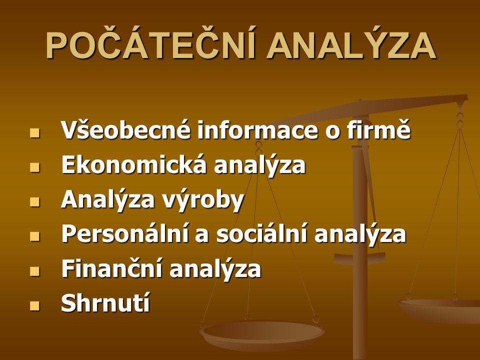 POČÁTEČNÍ ANALÝZA Všeobecné informace o firmě Ekonomická analýza