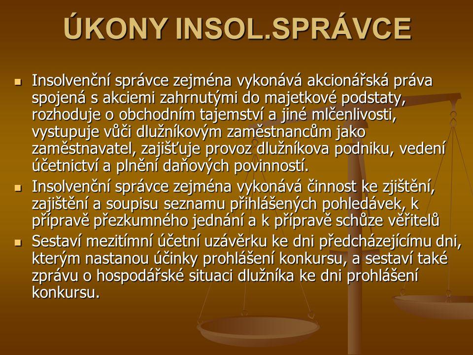 ÚKONY INSOL.SPRÁVCE
