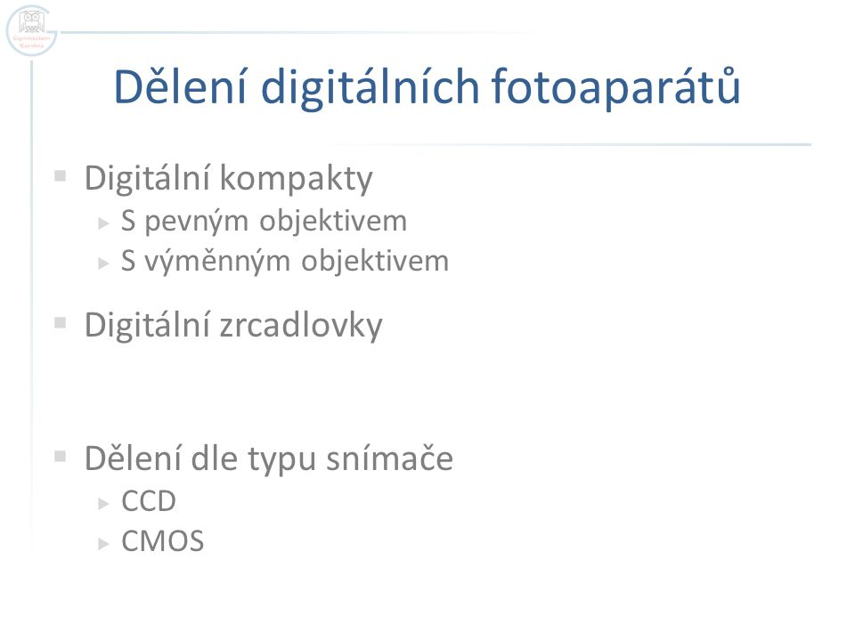 Dělení digitálních fotoaparátů