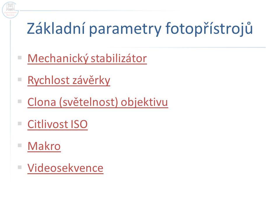 Základní parametry fotopřístrojů