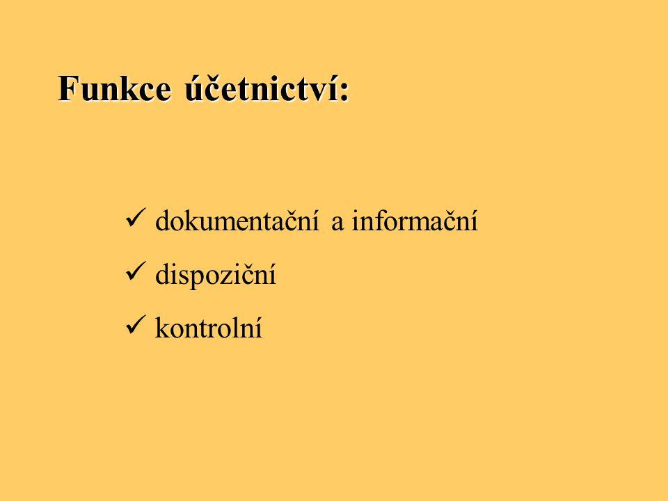 Funkce účetnictví: dokumentační a informační dispoziční kontrolní