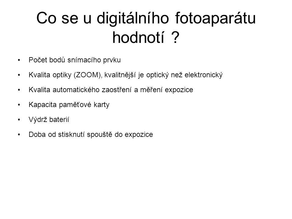 Co se u digitálního fotoaparátu hodnotí