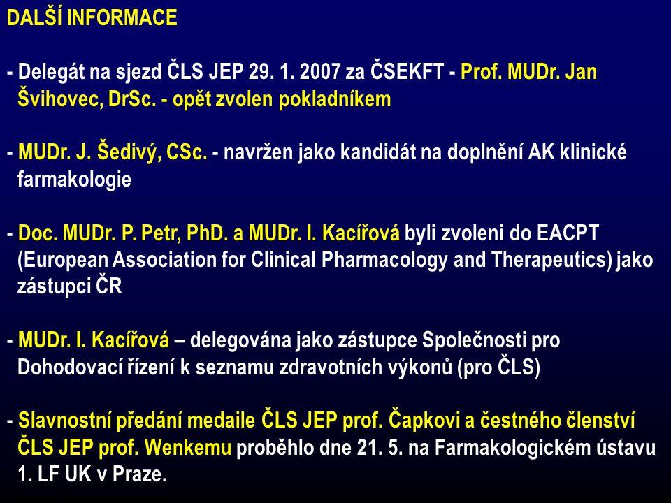DALŠÍ INFORMACE - Delegát na sjezd ČLS JEP 29. 1. 2007 za ČSEKFT - Prof. MUDr. Jan. Švihovec, DrSc. - opět zvolen pokladníkem.
