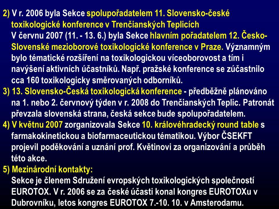2) V r. 2006 byla Sekce spolupořadatelem 11. Slovensko-české