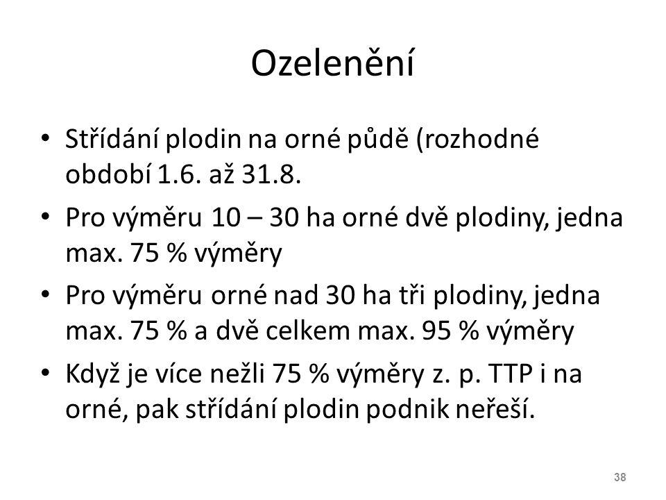 Ozelenění Střídání plodin na orné půdě (rozhodné období 1.6. až 31.8.