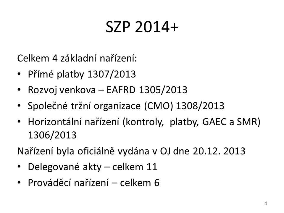 SZP 2014+ Celkem 4 základní nařízení: Přímé platby 1307/2013
