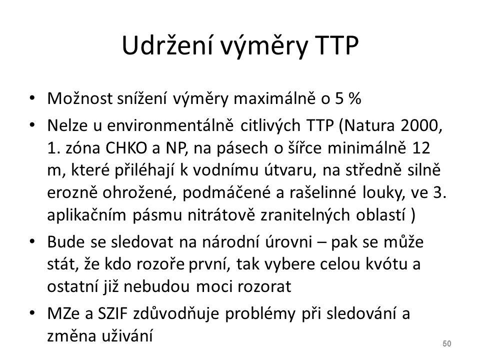 Udržení výměry TTP Možnost snížení výměry maximálně o 5 %