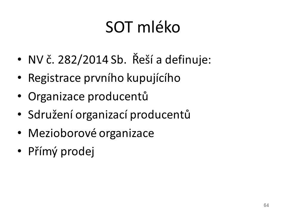 SOT mléko NV č. 282/2014 Sb. Řeší a definuje: