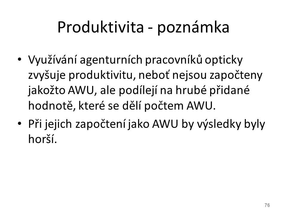 Produktivita - poznámka