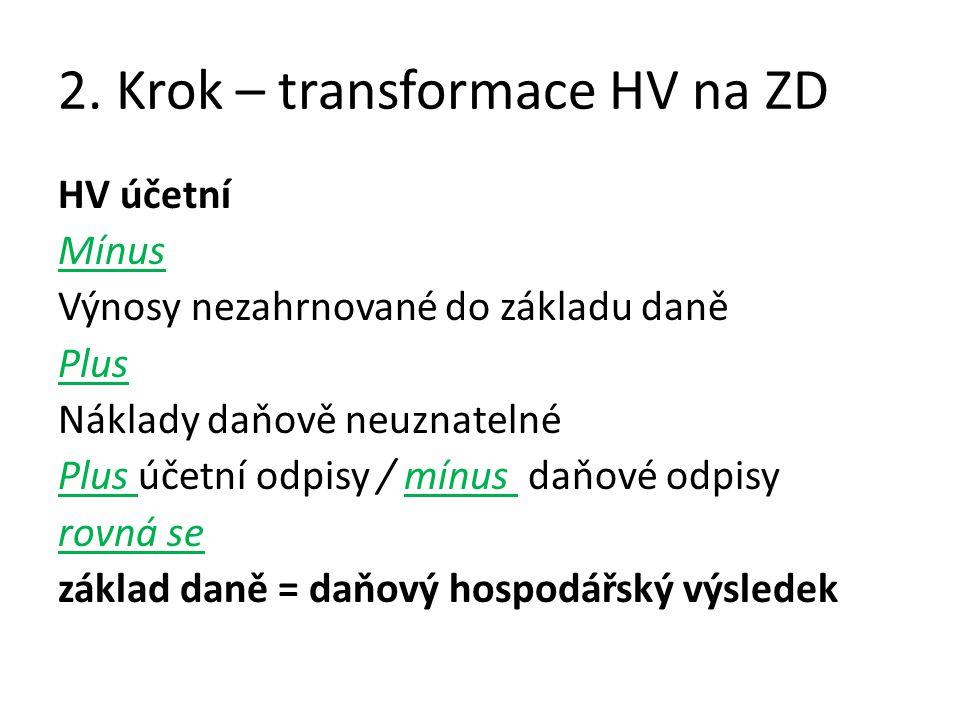 2. Krok – transformace HV na ZD