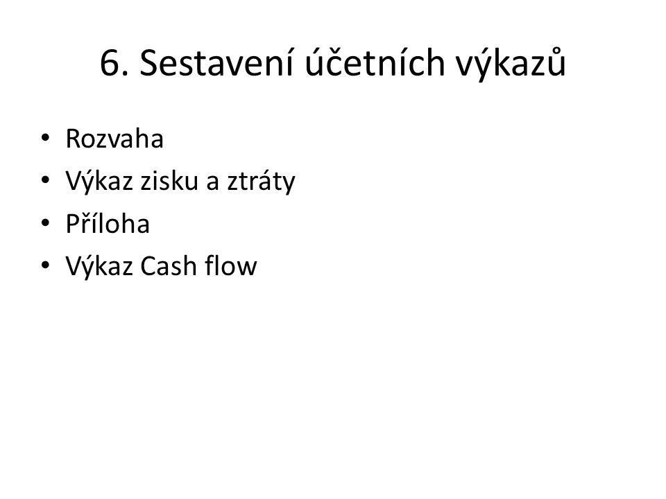6. Sestavení účetních výkazů