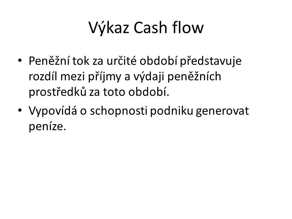 Výkaz Cash flow Peněžní tok za určité období představuje rozdíl mezi příjmy a výdaji peněžních prostředků za toto období.