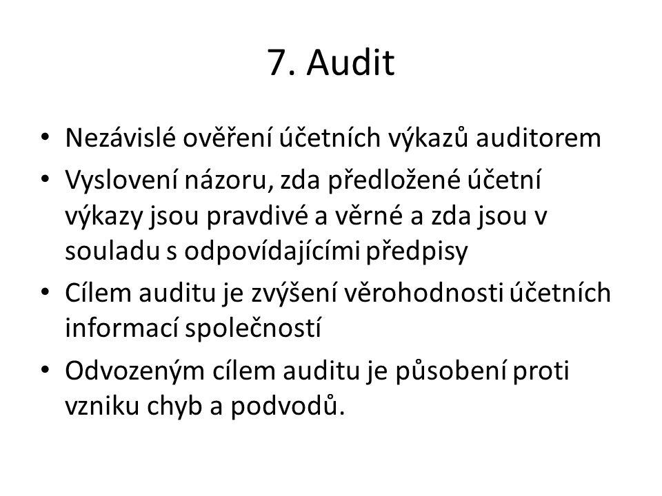 7. Audit Nezávislé ověření účetních výkazů auditorem