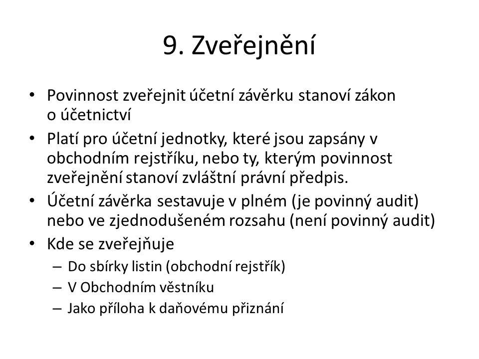 9. Zveřejnění Povinnost zveřejnit účetní závěrku stanoví zákon o účetnictví.