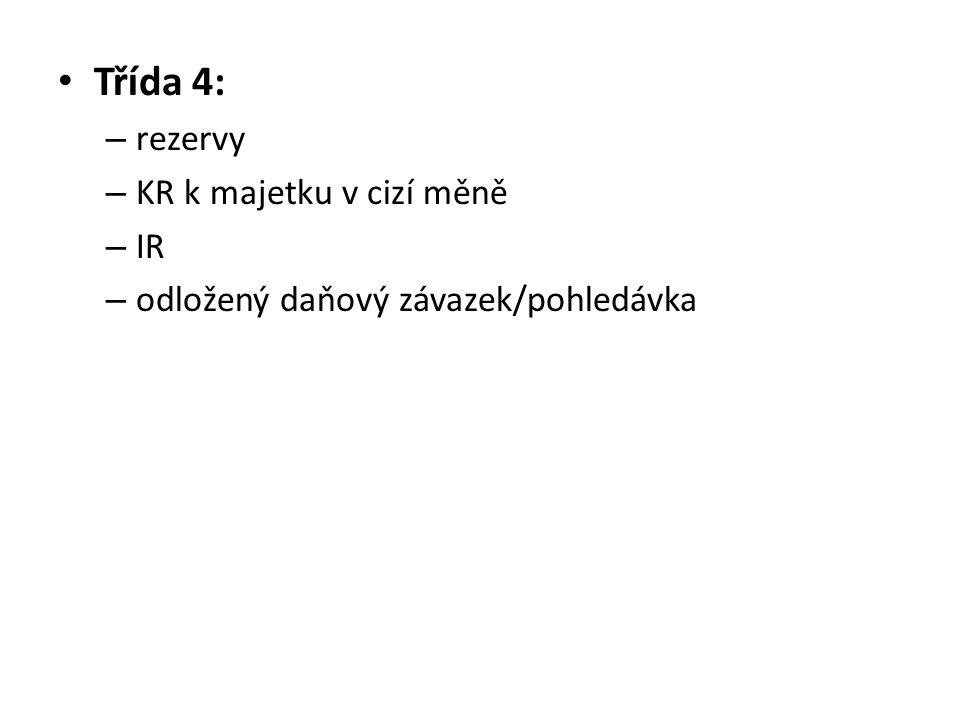 Třída 4: rezervy KR k majetku v cizí měně IR