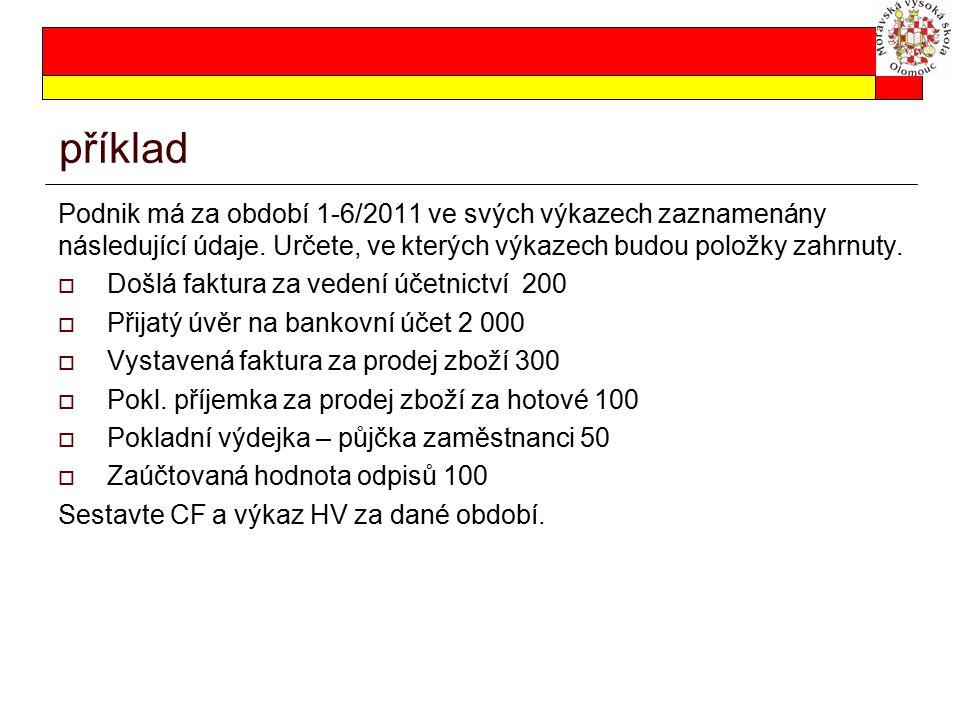 příklad Podnik má za období 1-6/2011 ve svých výkazech zaznamenány následující údaje. Určete, ve kterých výkazech budou položky zahrnuty.