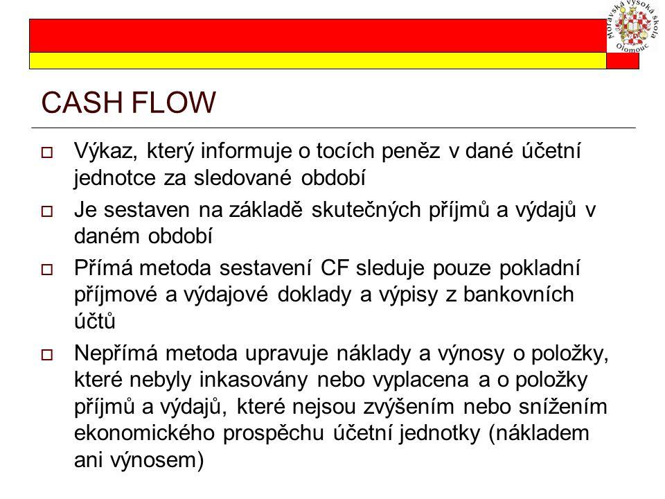 CASH FLOW Výkaz, který informuje o tocích peněz v dané účetní jednotce za sledované období.