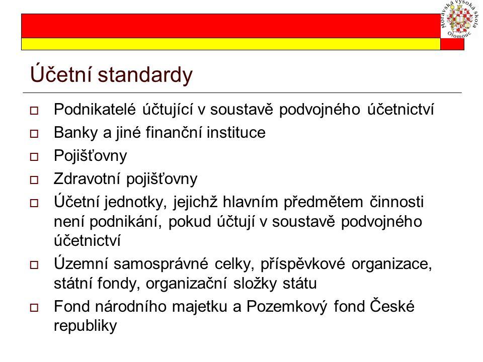Účetní standardy Podnikatelé účtující v soustavě podvojného účetnictví