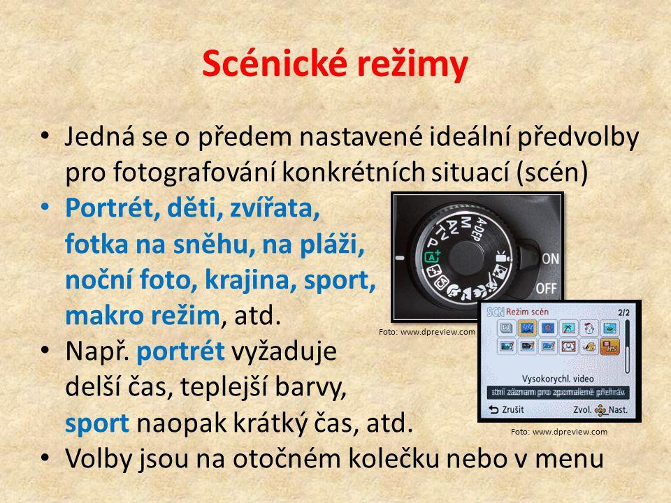 Scénické režimy Jedná se o předem nastavené ideální předvolby pro fotografování konkrétních situací (scén)