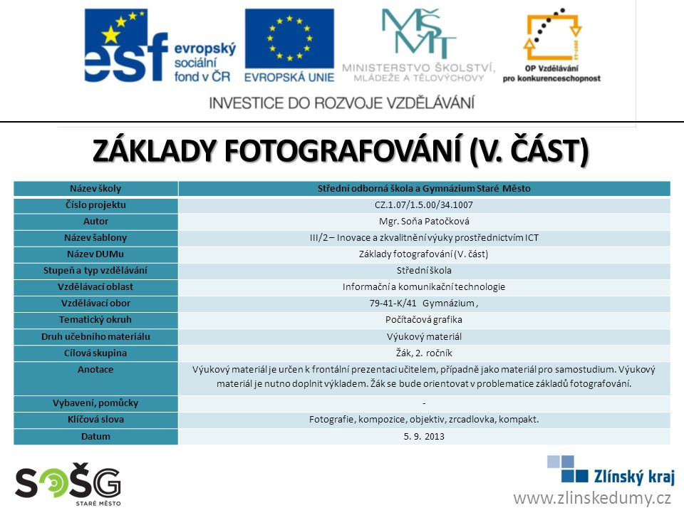 Základy fotografování (V. Část)