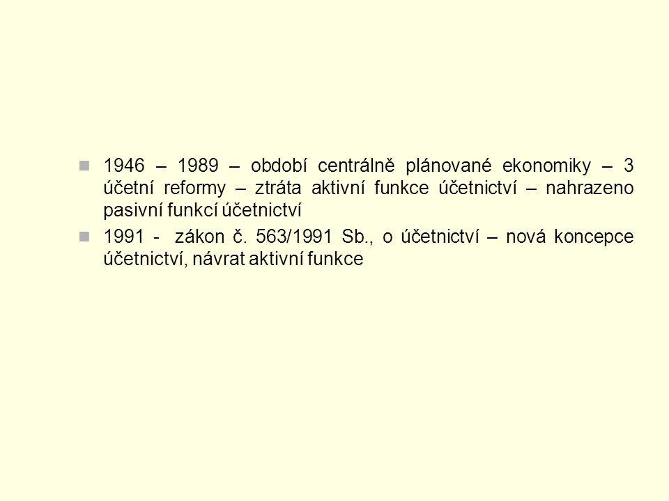 1946 – 1989 – období centrálně plánované ekonomiky – 3 účetní reformy – ztráta aktivní funkce účetnictví – nahrazeno pasivní funkcí účetnictví