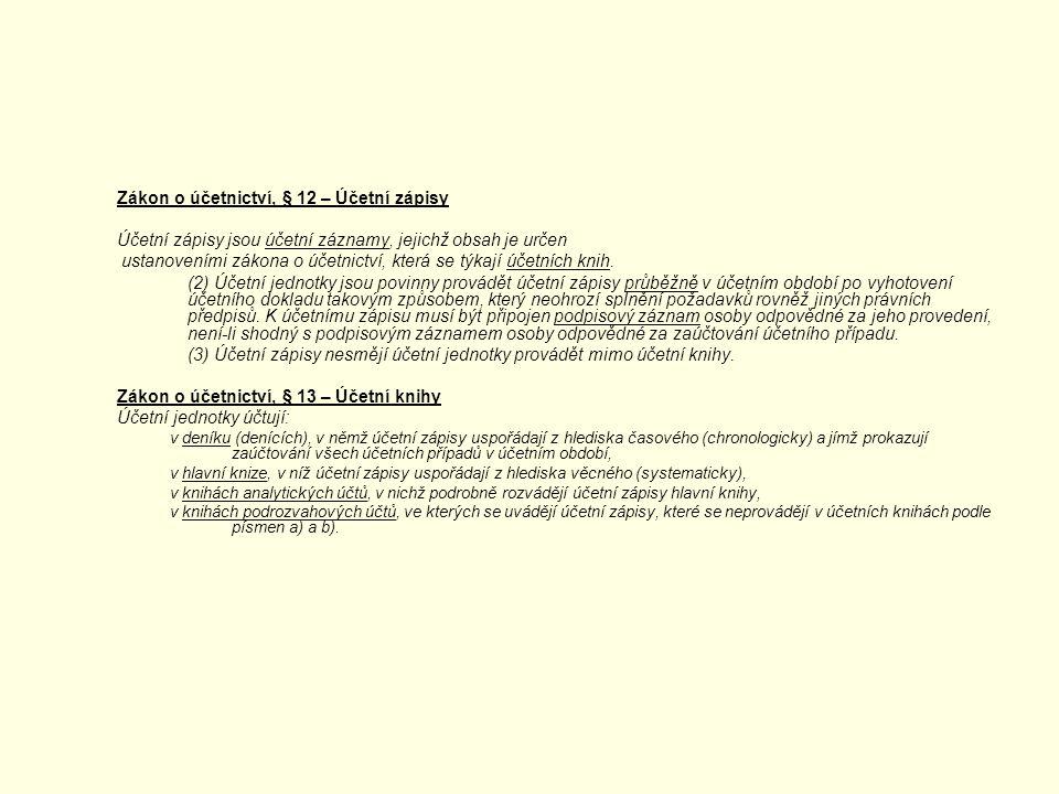 Zákon o účetnictví, § 12 – Účetní zápisy