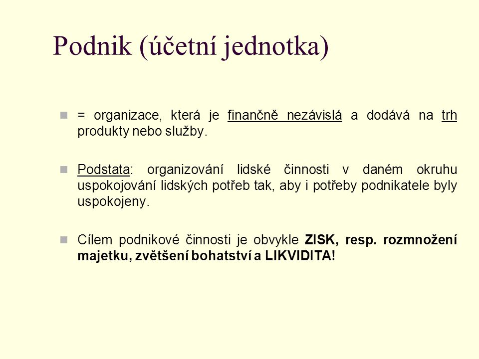 Podnik (účetní jednotka)