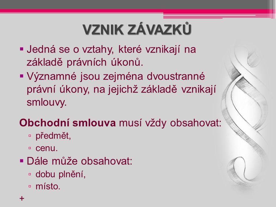 VZNIK ZÁVAZKŮ Jedná se o vztahy, které vznikají na základě právních úkonů.