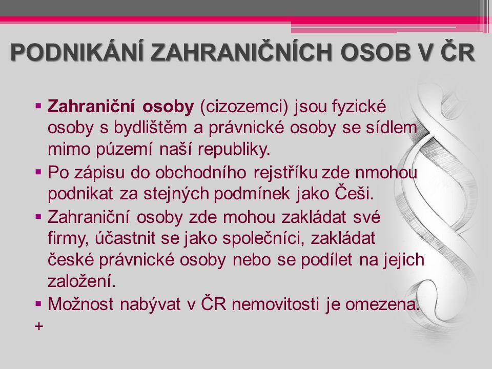 PODNIKÁNÍ ZAHRANIČNÍCH OSOB V ČR