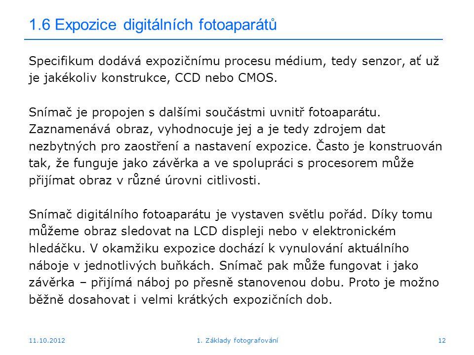 1.6 Expozice digitálních fotoaparátů