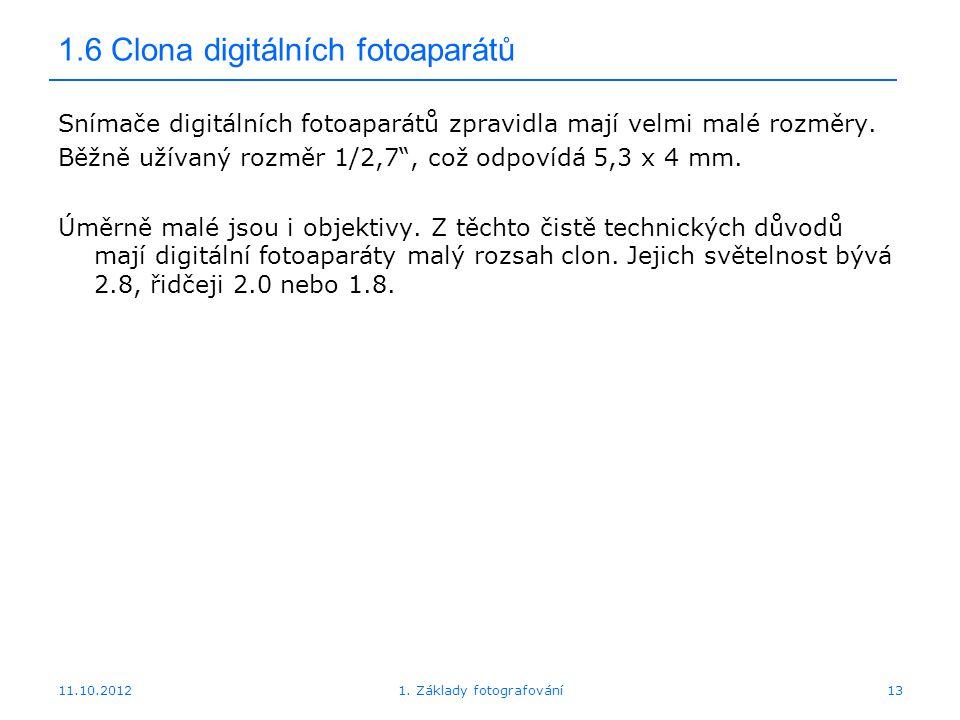 1.6 Clona digitálních fotoaparátů