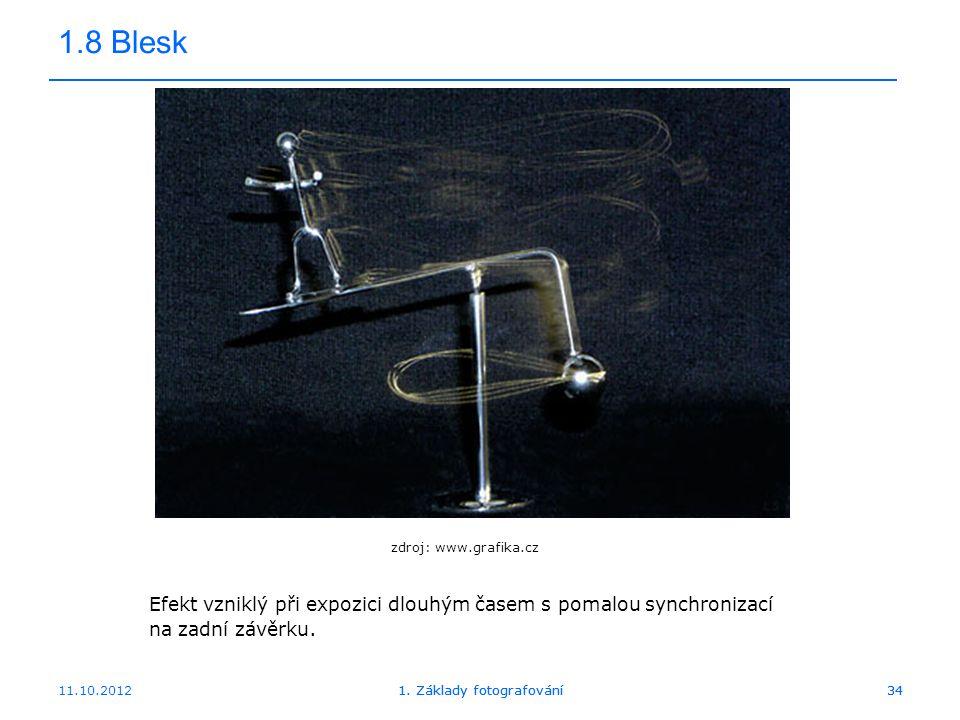 1.8 Blesk zdroj: www.grafika.cz. Efekt vzniklý při expozici dlouhým časem s pomalou synchronizací na zadní závěrku.