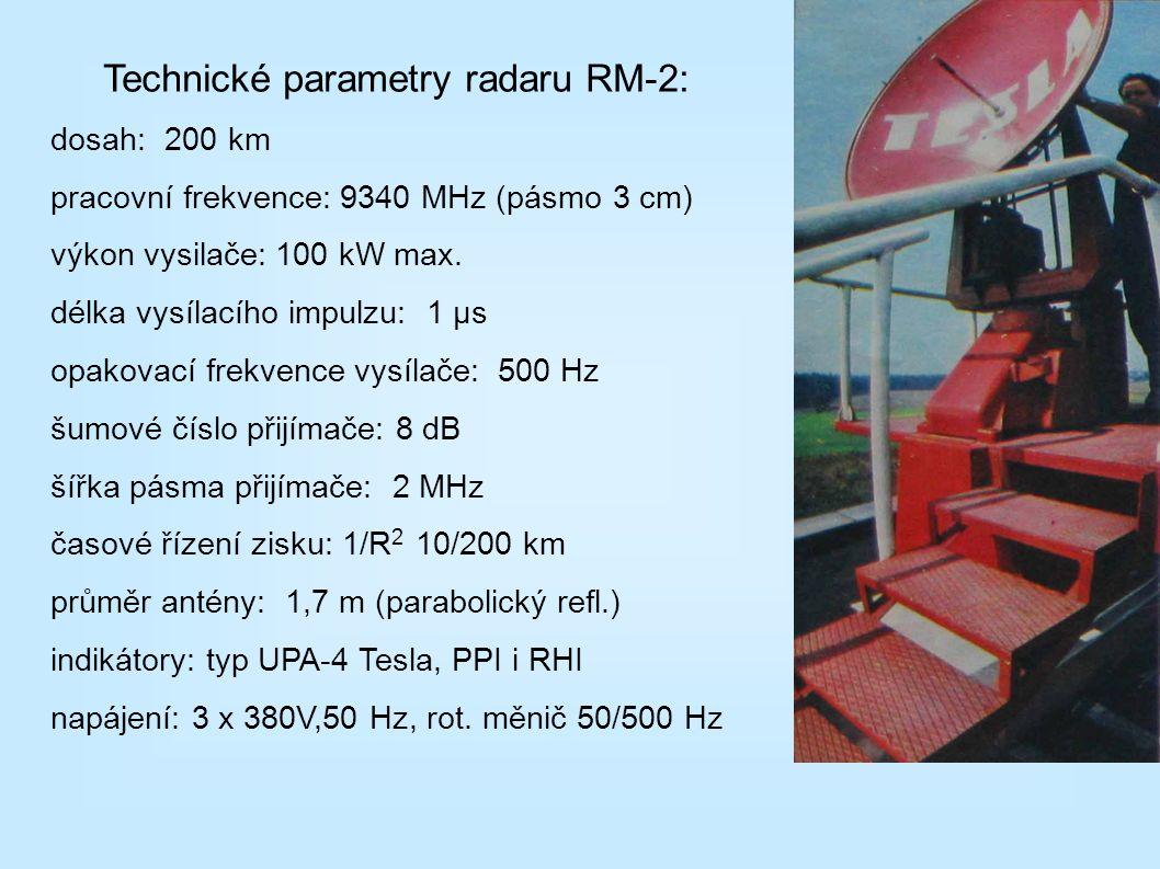 Technické parametry radaru RM-2: