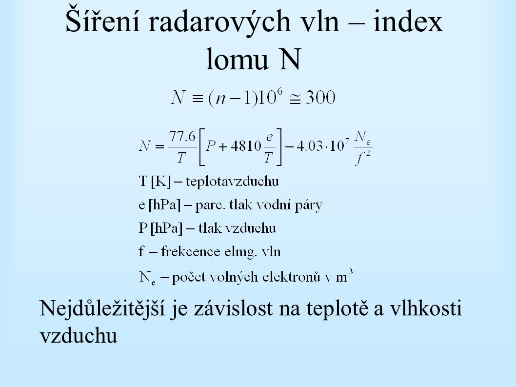 Šíření radarových vln – index lomu N