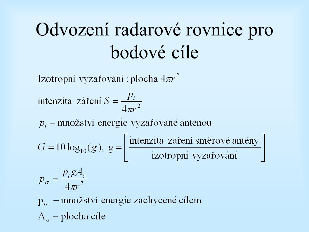 Odvození radarové rovnice pro bodové cíle