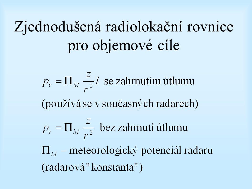 Zjednodušená radiolokační rovnice pro objemové cíle