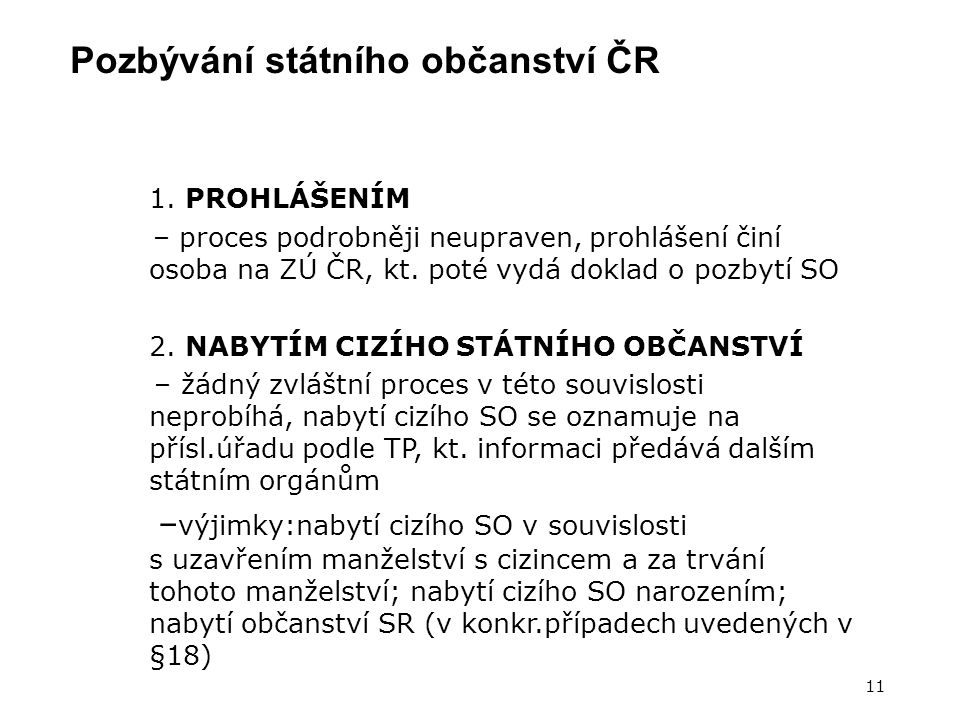 Pozbývání státního občanství ČR