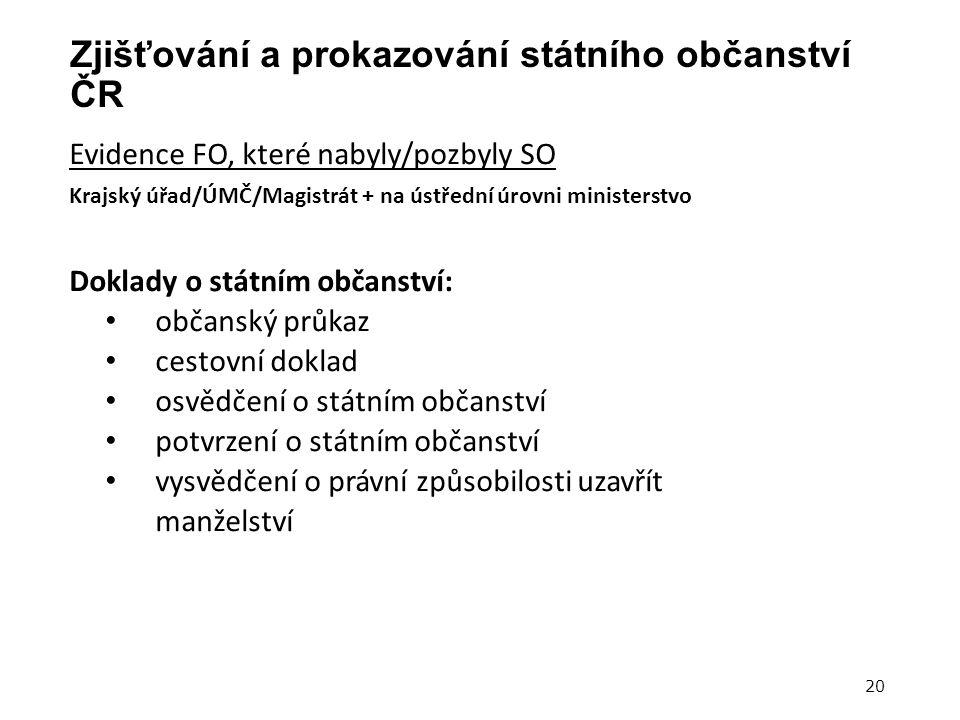 Zjišťování a prokazování státního občanství ČR