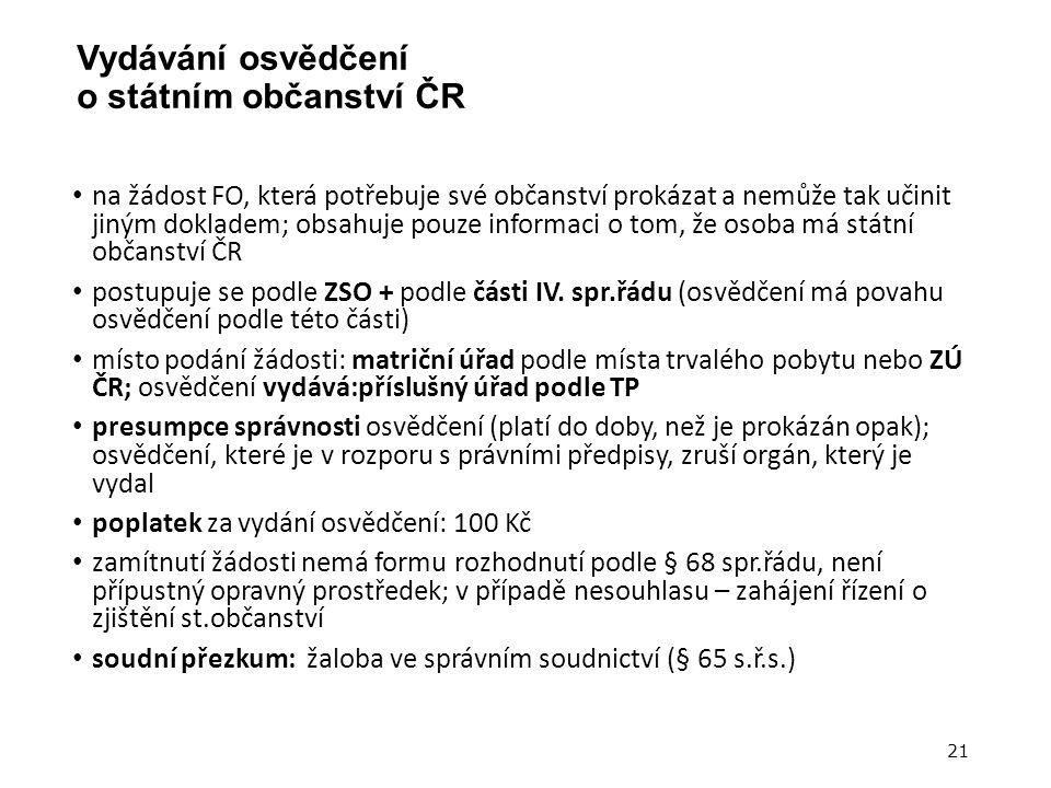 Vydávání osvědčení o státním občanství ČR