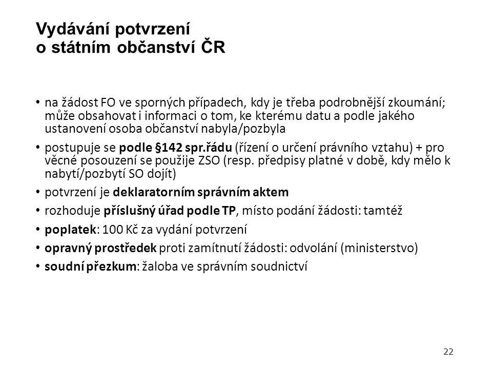 Vydávání potvrzení o státním občanství ČR