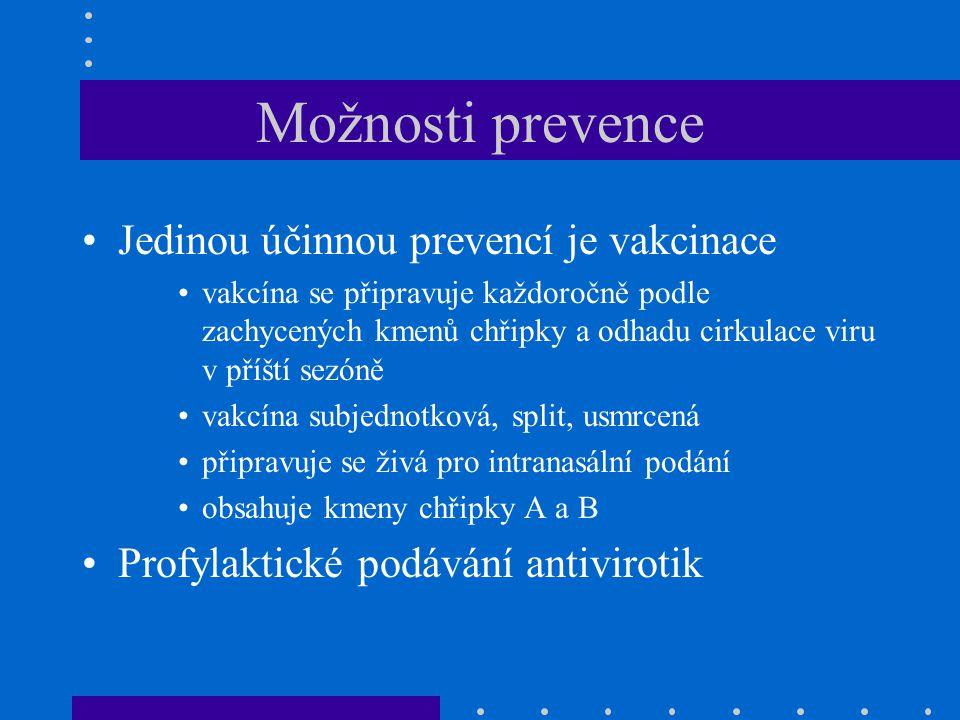 Možnosti prevence Jedinou účinnou prevencí je vakcinace