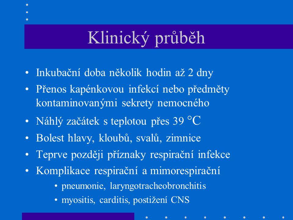 Klinický průběh Inkubační doba několik hodin až 2 dny