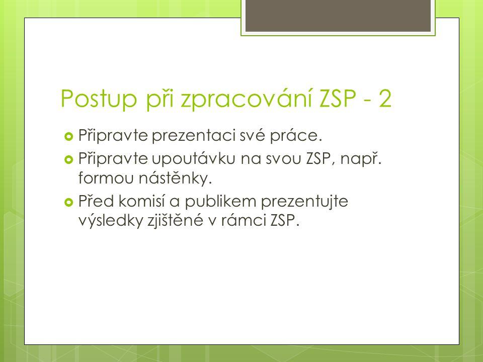 Postup při zpracování ZSP - 2