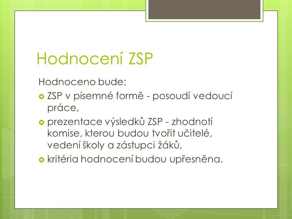Hodnocení ZSP Hodnoceno bude: