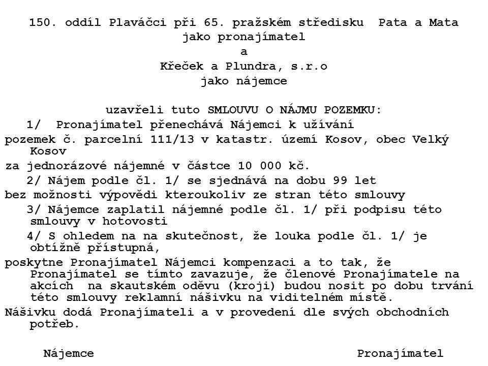 150. oddíl Plaváčci při 65. pražském středisku Pata a Mata